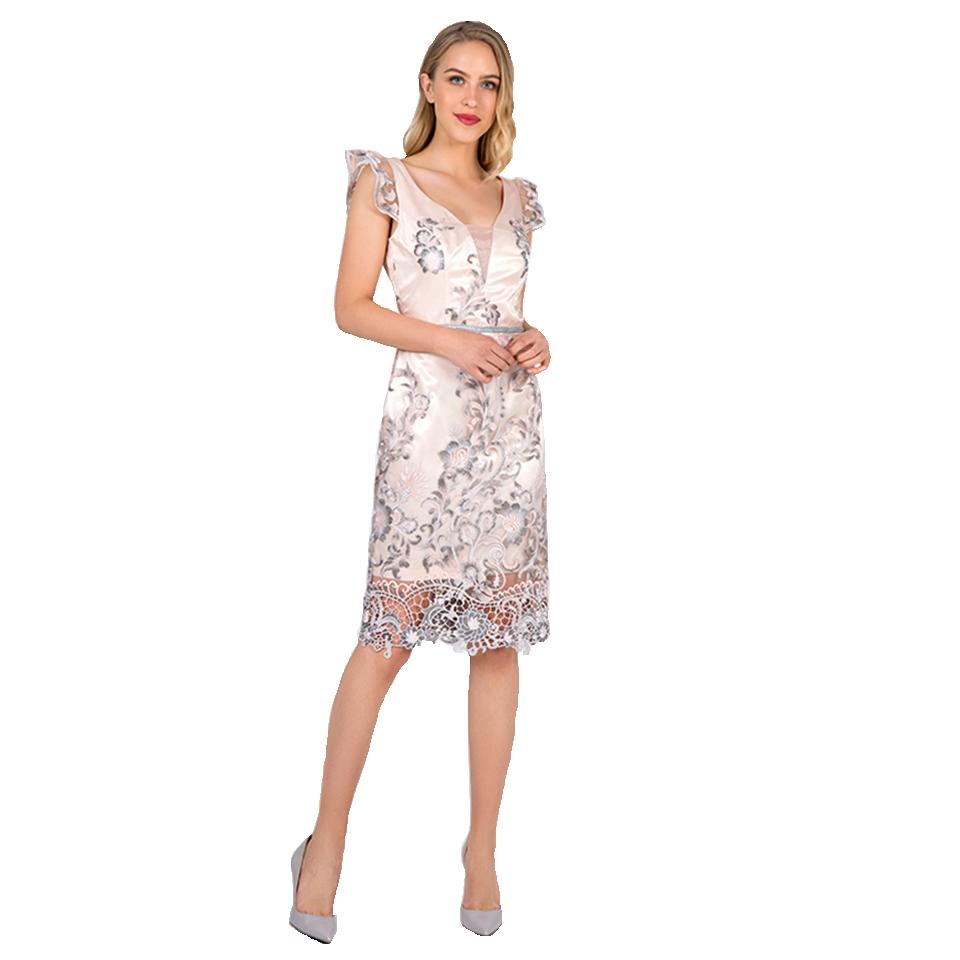 48c66f64c58e Mini φόρεμα δαντέλα με ασημί λεπτομέρειες