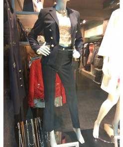 Women's cigarette pants with gold button