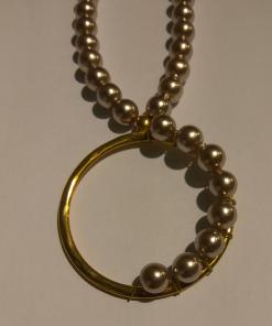 Γυναικείο μοντέρνο κολιέ με κύκλο και πέρλες