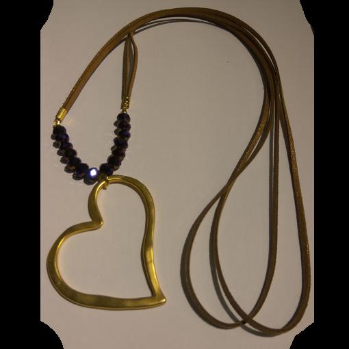 Γυναικείο κολιέ με καρδιά και χάντρες