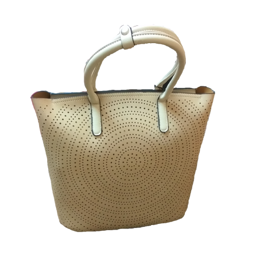 Women's hand bag with perforated pattern