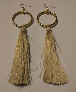 Long circle earrings with tassel
