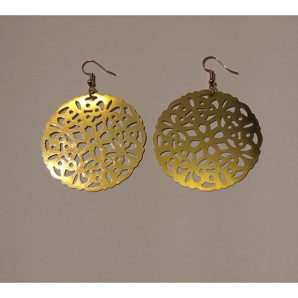 Χειροποίητα χρυσά σκουλαρίκια στρογγυλά  79af8a7e38b