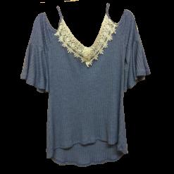 Έξωμη μπλούζα με λεπτές τιράντες