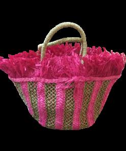 Γυναικεία ψάθινη τσάντα χειρός με κρόσια