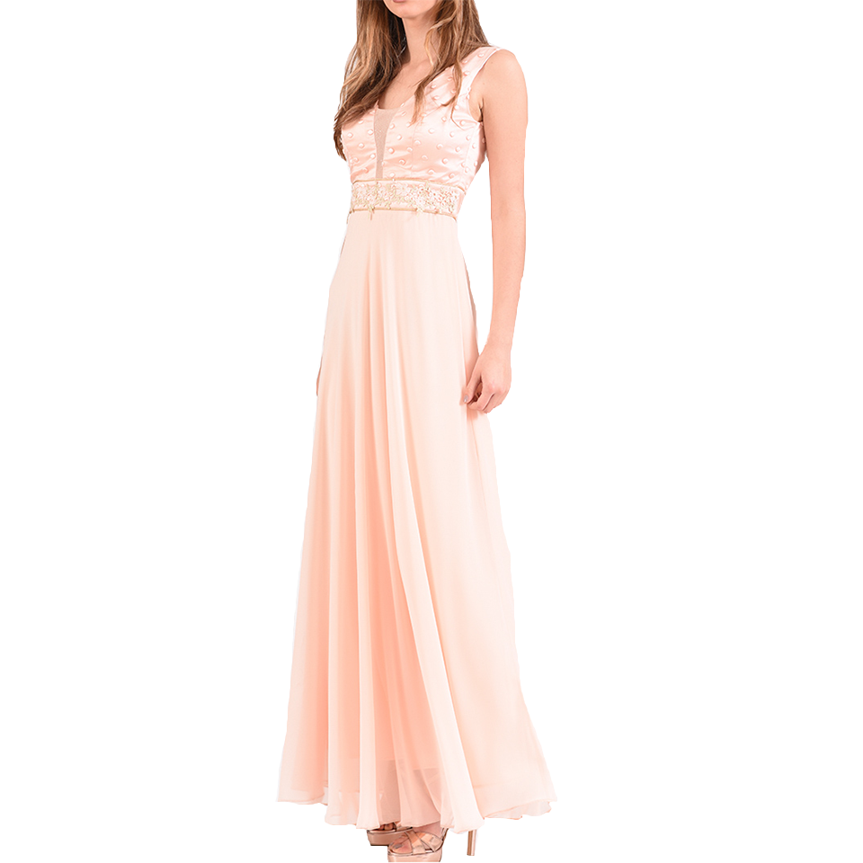 Maxi muslin dress with V open back