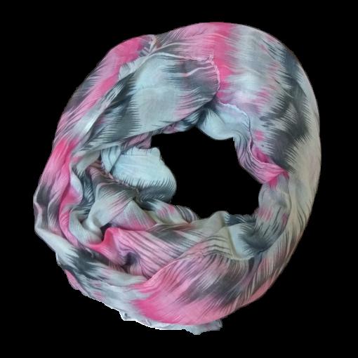 Γυναικείο φουλάρι εμπριμέ σε χρώμα ροζ