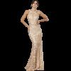 Μακρύ φόρεμα γοργονέ με δαντέλα χρυσό
