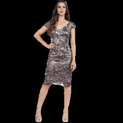 Κοντό φόρεμα με λεπτή μπλέ δαντέλα