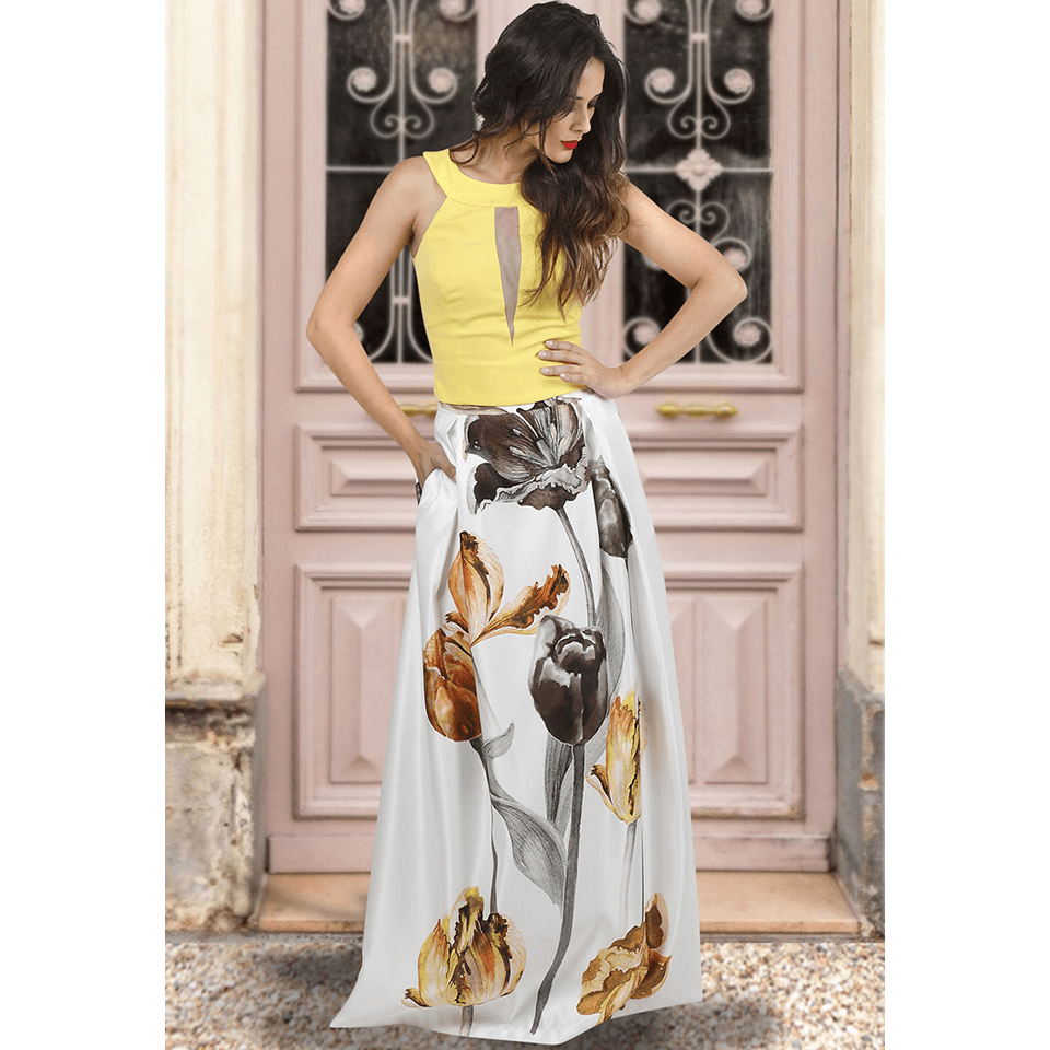 Maxi εντυπωσιακή φούστα με κουφόπιετες  75c3ec74b18