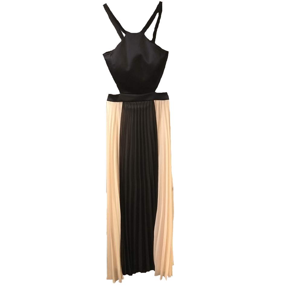 Maxi pleated dress with openings in the middle