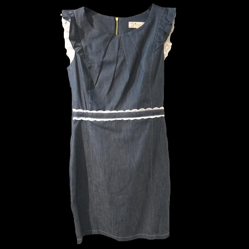Τζιν κοντό φόρεμα με λεπτομέρειες δαντέλας