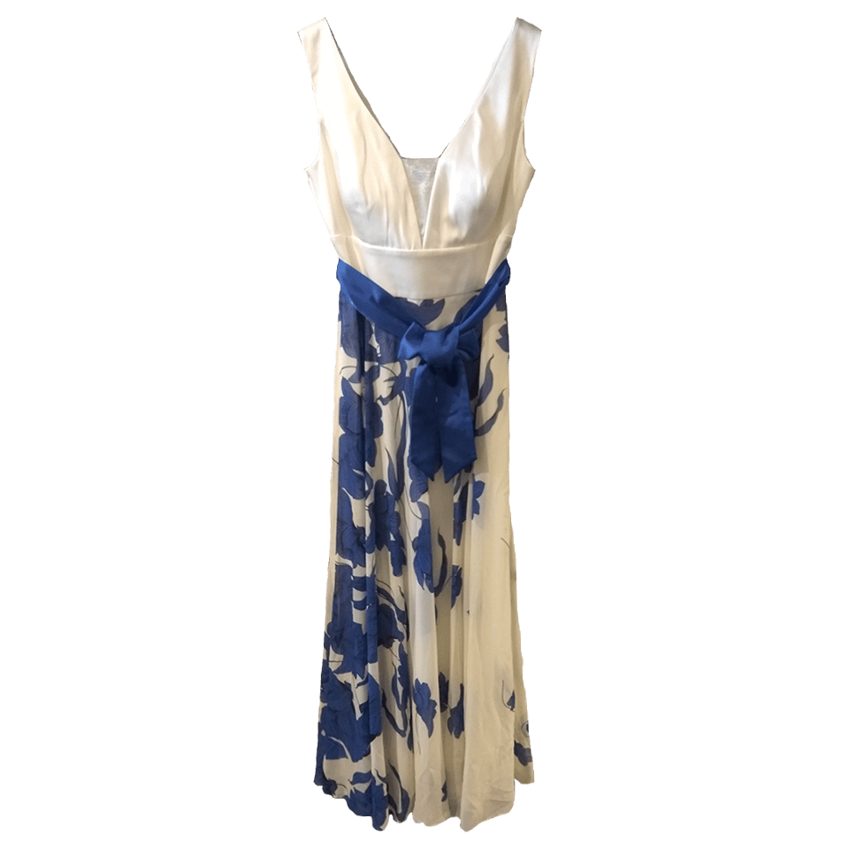 Maxi φόρεμα floral με μπλέ ζώνη
