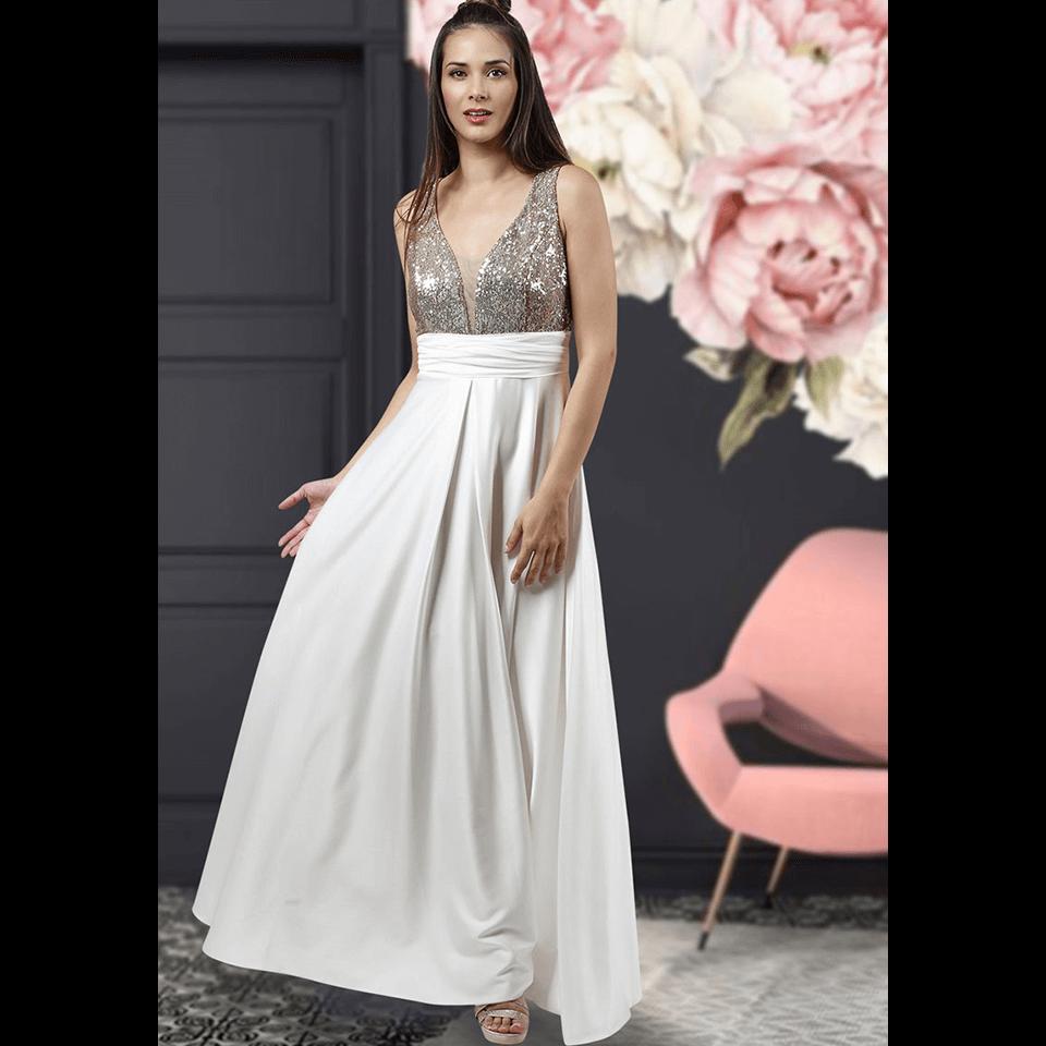 Maxi φόρεμα με παγιέτες στο μπούστο  f5dc6573475