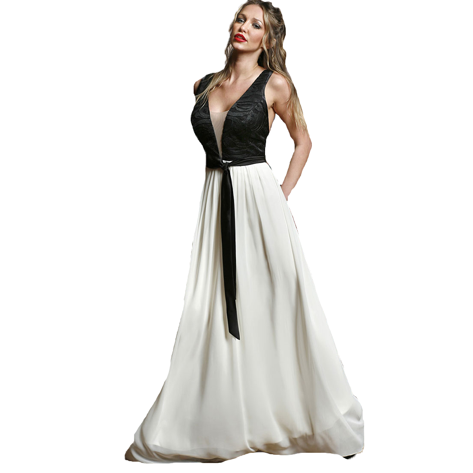Maxi two-color dress with open back