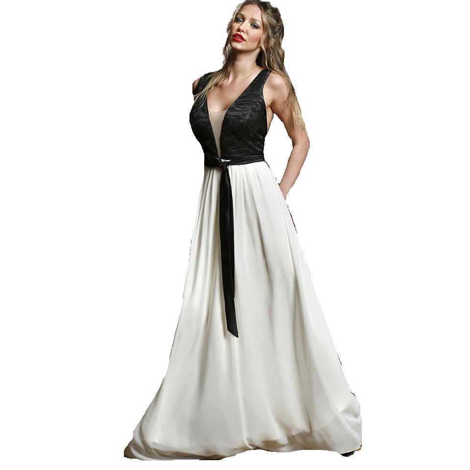 Maxi δίχρωμο φόρεμα με ανοικτή πλάτη