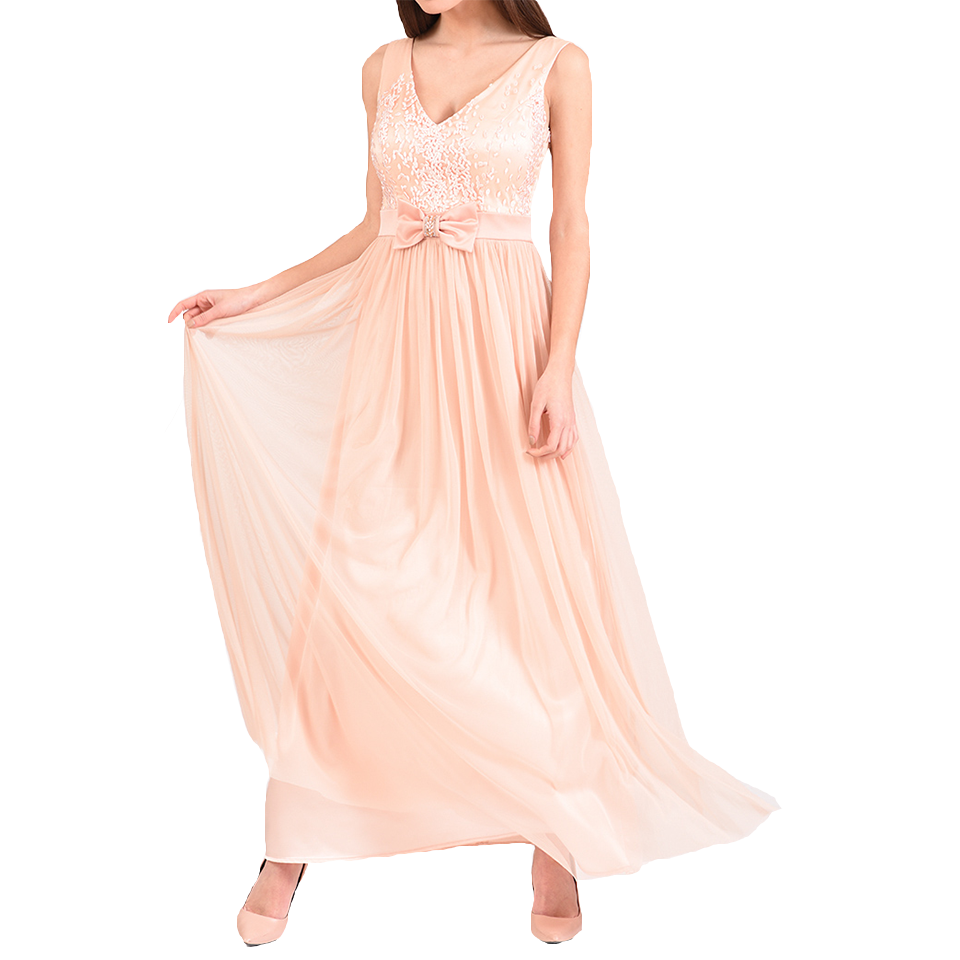 Maxi dress with embossed bust and bow