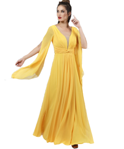 Maxi dress kaftan with opening on the sleeves