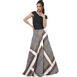 Long satin skirt with patterns