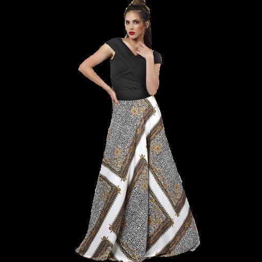 Μακριά σατέν φούστα με σχέδια