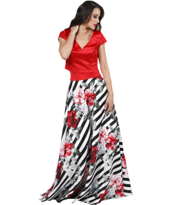 Maxi floral skirt with striped design