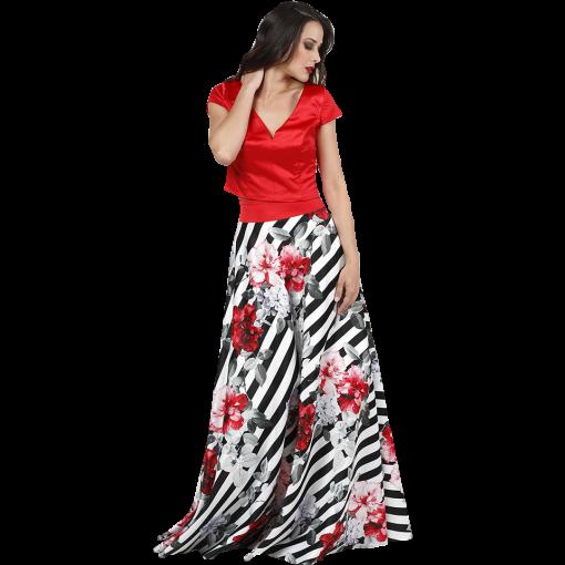 Maxi φλοράλ φούστα με ριγέ σχέδιο