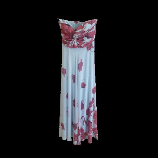 Maxi αέρινο φόρεμα εμπριμέ strapless