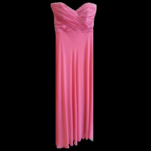 Maxi φόρεμα μουσελίνα μονόχρωμο strapless