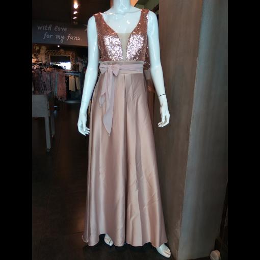 Maxi φόρεμα με παγιέτες και διαφάνεια στο μπούστο