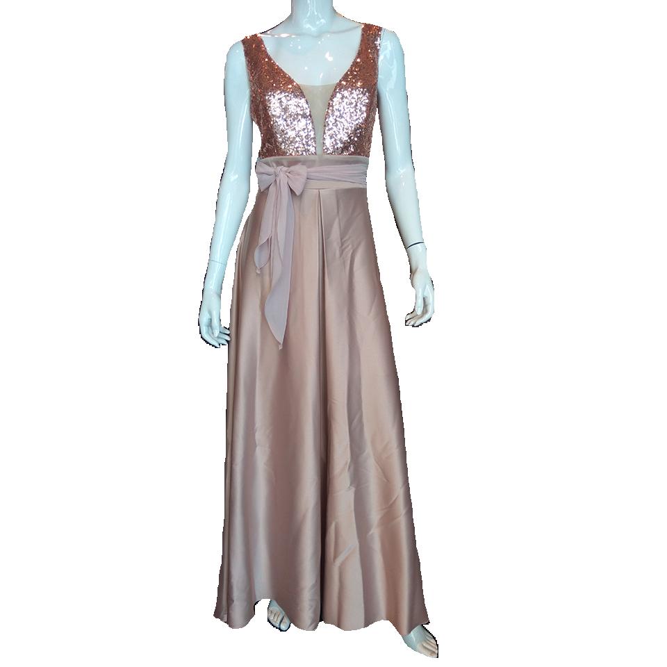 0f00fd57d799 Maxi φόρεμα με παγιέτες και διαφάνεια στο μπούστο
