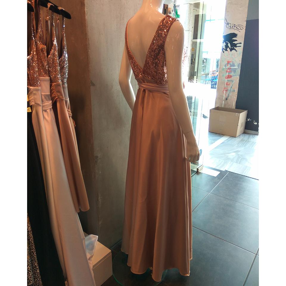 Maxi φόρεμα με παγιέτες και διαφάνεια στο μπούστο  e9e71b0354d