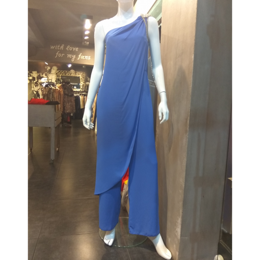 Women's jumpsuit with one shoulder and jewel