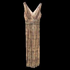 Maxi μεταλλιζέ φόρεμα εμπριμέ με άνοιγμα