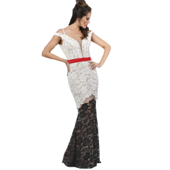 Maxi black and white lace dress