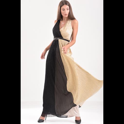 Maxi δίχρωμο μεταλλιζέ φόρεμα με ανοικτή πλάτη