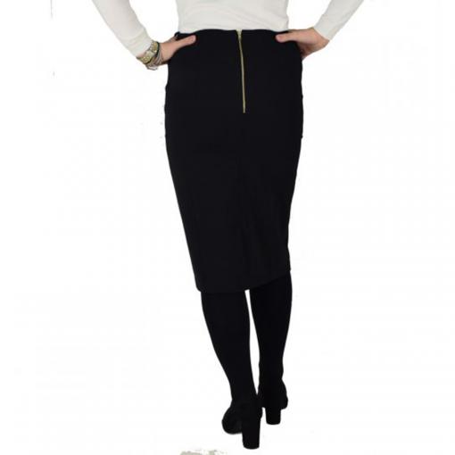 Midi μαύρη φούστα με δερματίνη και κουμπιά