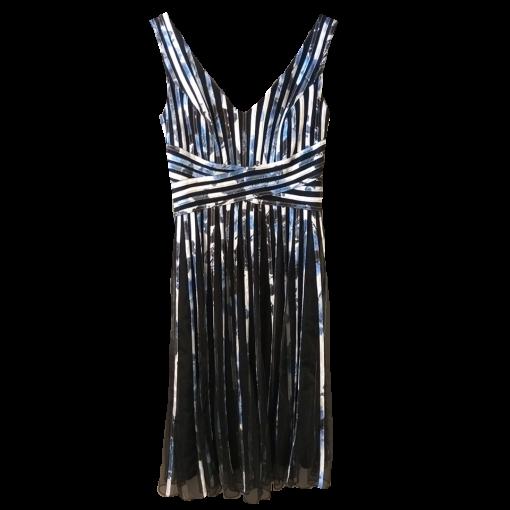 Midi φόρεμα ριγέ με μικρές πιέτες