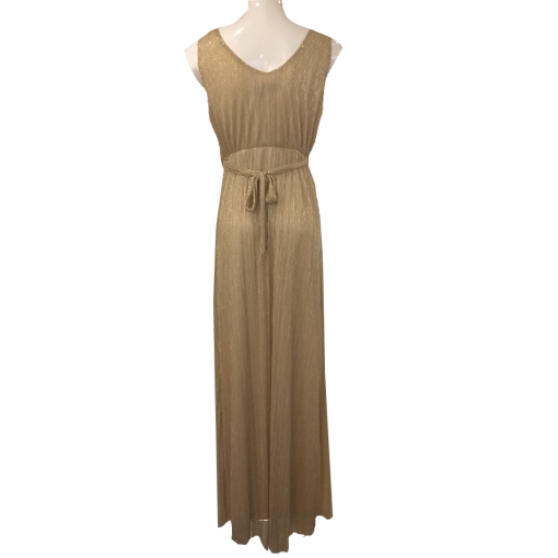Maxi φόρεμα μεταλλιζέ με κόσμημα στην ζώνη