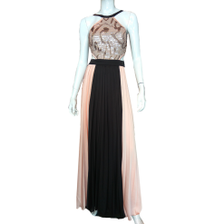 Maxi pleated dress with strass in the bust