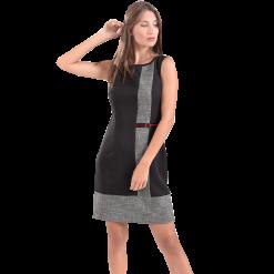 Κοντό δίχρωμο φόρεμα σε ίσια γραμμή