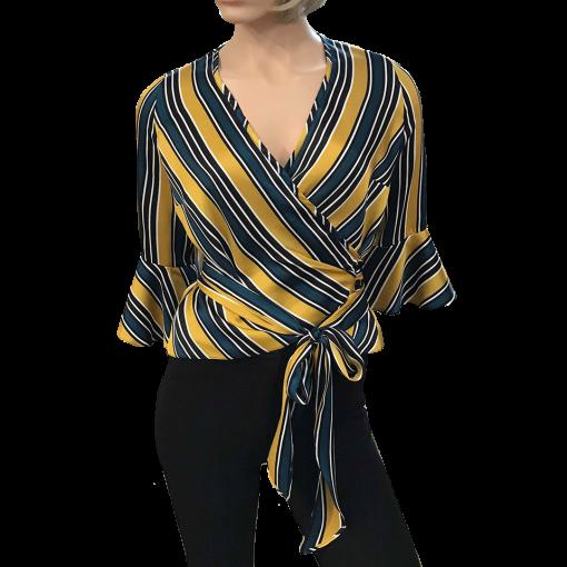 Ριγέ πουκάμισο με τρουακάρ μανίκια