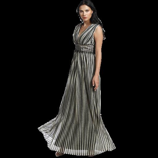 Maxi ριγέ μεταλλιζέ φόρεμα
