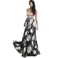 Maxi strapless dress with gray belt