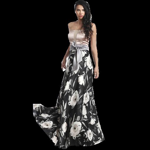 Maxi strapless φόρεμα με γκρί ζώνη