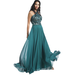 Maxi dress with crossed bust and open back