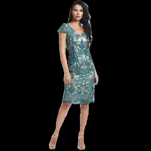 Pencil φόρεμα δαντέλα με κοντά μανίκια