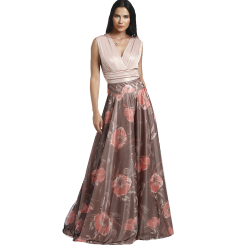 Maxi skirt with floral tulle