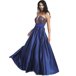 Maxi strapless dress with paillettes in the bust