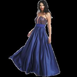 Maxi strapless φόρεμα με παγιέτες στο μπούστο