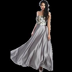 Maxi strapless φόρεμα με floral μπούστο